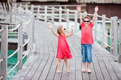 Two kids at resort Royalty Free Stock Images