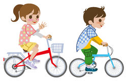 Two kids riding Bicycle, Isolated Royalty Free Stock Images