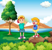 Two kids at the riverside vector illustration