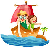 Two kids sailing in the sea stock illustration