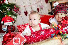 TWo kids in santa's hat Stock Photography