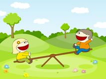 Two kids on a seesaw Royalty Free Stock Photos
