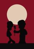 Two kids sharing innocent love royalty free illustration