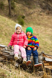 Two kids sitting on tree  trunk Royalty Free Stock Photos