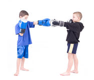 Two kids sparring Royalty Free Stock Images