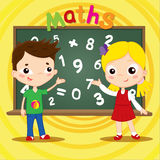 Two kids standing near blackboard . Back to school concept. Vector illustration. Stock Photos