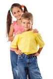 Two kids standing together Stock Photo