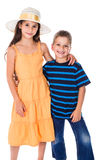 Two kids standing together Stock Photos