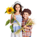 Two kids with sunflower and stalks of wheat. Two rural kids with sunflower a stalks of wheat, isolated on white Stock Photo