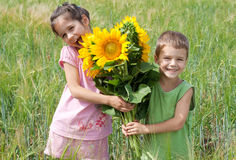 Two kids with sunflowers  in a wheat field Stock Image