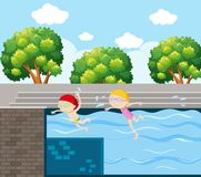 Two kids swimming in pool. Illustration Stock Photos
