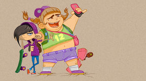Two Kids Taking a Selfie Stock Images
