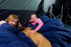 Two kids in a tent Stock Photo