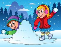 Two kids throwing snow balls vector illustration