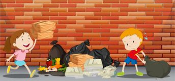 Two kids throwing trash on the street stock illustration
