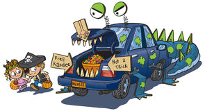 Two Kids Trunk or Treat on Halloween Clip Art. A vector clip art cartoon of two kids warily approaching a car decorated for a trunk or treat event on Halloween Stock Photo