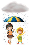 Two kids with umbrella and raincoat in the rain. Illustration Royalty Free Stock Images