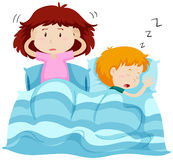 Two kids under blanket. Illustration royalty free illustration