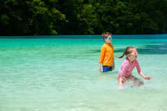 Two kids on vacation Stock Photos
