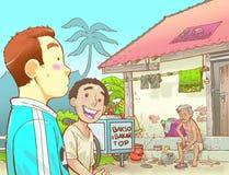 Two kids visiting poor man vector illustration