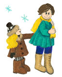 Two kids in the winter. Acrylic illustration of two kids in the winter Stock Images