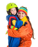 Two kids in winter clothes Stock Photos