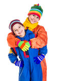 Two kids in winter clothes Royalty Free Stock Photography