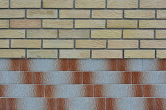 Two kind bricks wall pattern Stock Images