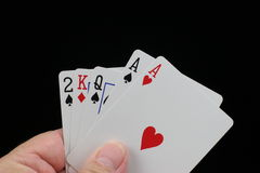 Two of a kind poker hand. Poker hand with two aces on a black background Stock Image