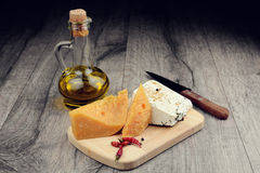 Two kinds of cheese Stock Images