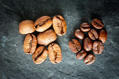 Two kinds of coffee: big and small beans Stock Image