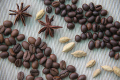 Two kinds of coffee and spices Royalty Free Stock Image