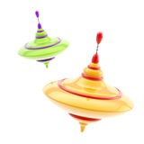 Two kinds of colorful glossy whirligigs. Isolated on white stock illustration