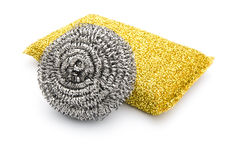 Two kinds of steel wool dishwashing Royalty Free Stock Image