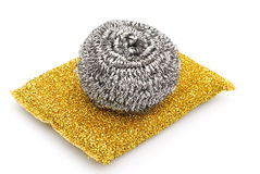 Two kinds of steel wool dishwashing Stock Photography