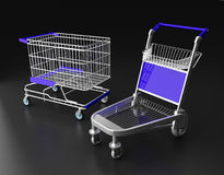 Two kinds of trolley isolated on dark background Stock Image
