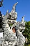 Two King Nagas at Jetiyaluang Temple (Portrait) Royalty Free Stock Images
