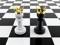 Two kings. 3D render of black and white pawn kings on chessboard royalty free illustration