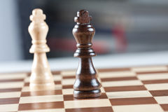Two kings on chess board Royalty Free Stock Images