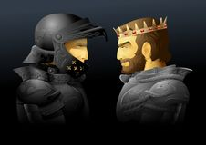 Two kings. Vector illustration of two kings face to face Stock Images