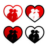 Two kissing kids. Two kids in a heart stock illustration