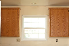 Two kitchen cabinets and window Stock Photography