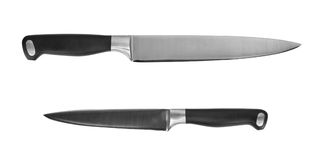 Two kitchen knives cutout. Two kitchen knives isolated on white with clipping path Royalty Free Stock Images