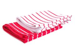 Two kitchen towels and red stripes isolated Royalty Free Stock Images