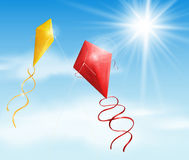 Two kite. Two in the sky flying a kite. Eps 10 Royalty Free Stock Image