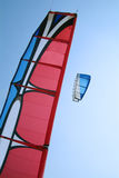 Two kite surfer kites. On a blue sky background Stock Images
