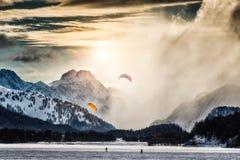 Two kite surfing Royalty Free Stock Photo