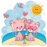 Two Kittens on the beach. Greeting card Two kittens in a cap on the beach stock illustration