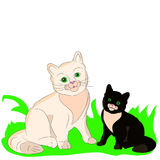 Two kittens cheerful, cartoon on a white background. Royalty Free Stock Photo