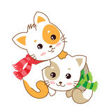 Two kittens. Kittens. Cats together. Vector kittens. Royalty Free Stock Image